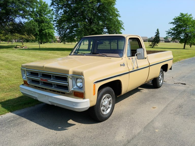 1976 GMC pickup posing for its sale picture