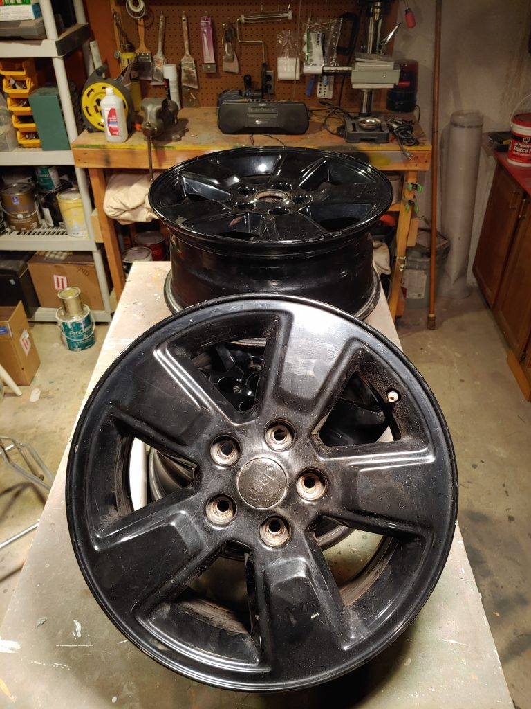 4 old wheels ready for paint
