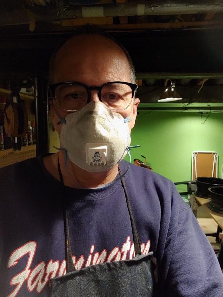 Bill wearing a paint mask