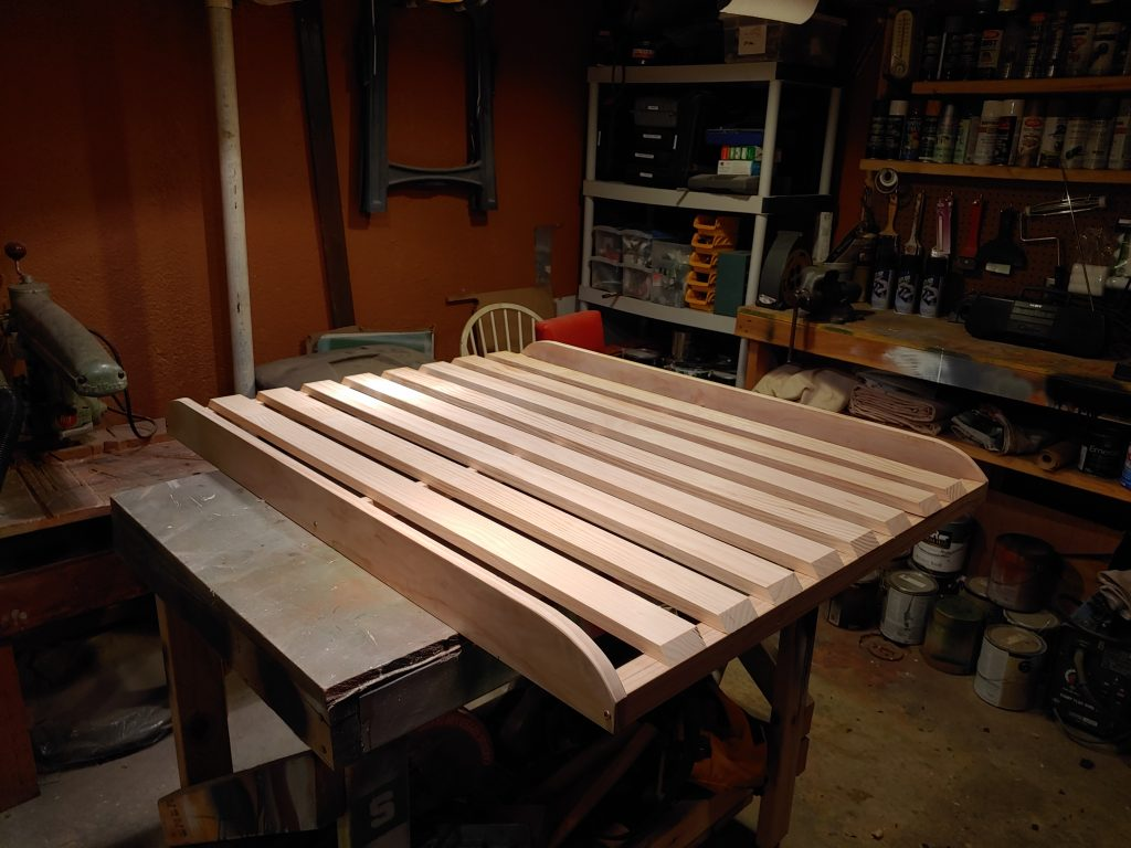 assembled wood roof rack before paint or stain
