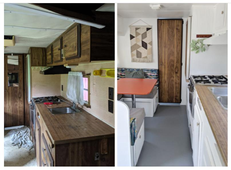 Vintage camper interior before and after renovation