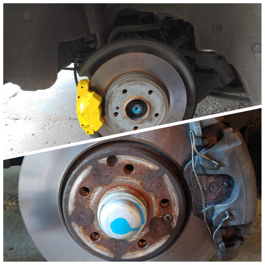 before and after painted brake calipers