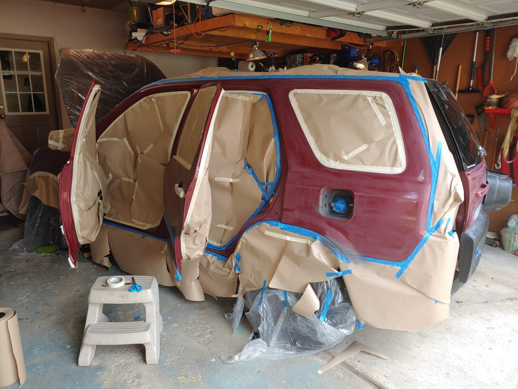Honda CRV with masking tape and paper