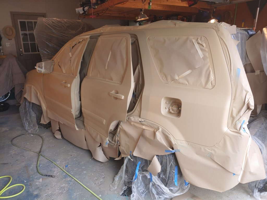 rear view of paint in process