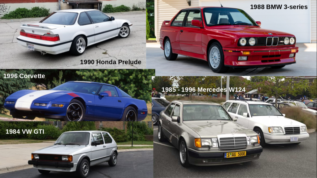 collage of cars from the 80s and 90s